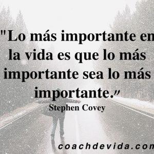 Lo más importante en la vida es que lo más importante sea lo más importante. Stephen Covey